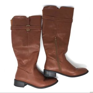 Rampage Tan Faux Leather Riding Boots